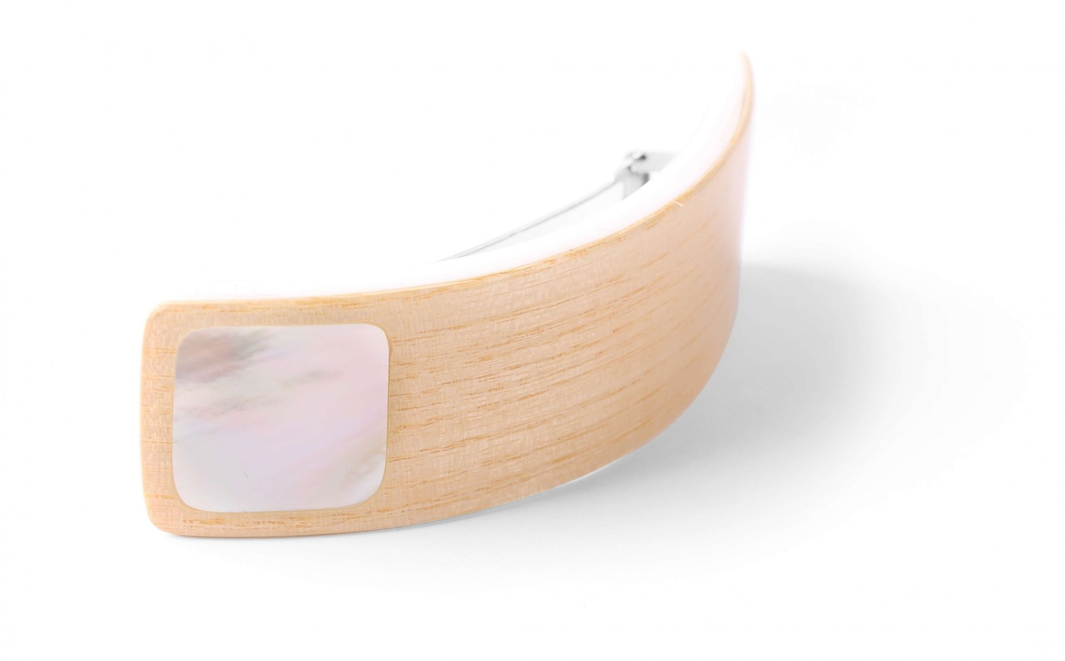WOODY WOOD  barrette rect.nacre blanche
