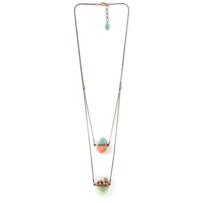 PEBBLES collier long double chaine