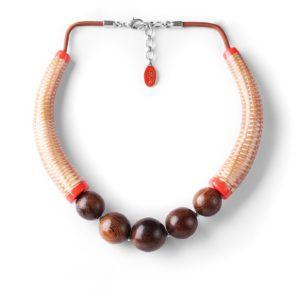 MON PANIER  collier rotin et perles de robles