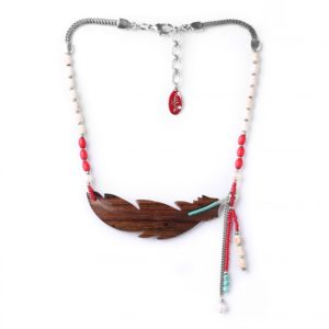 INDIANA collier grande plume robles