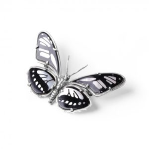 PAPILLONS broche nacre blanche