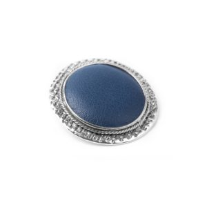 LEATHER broche bleu nuit
