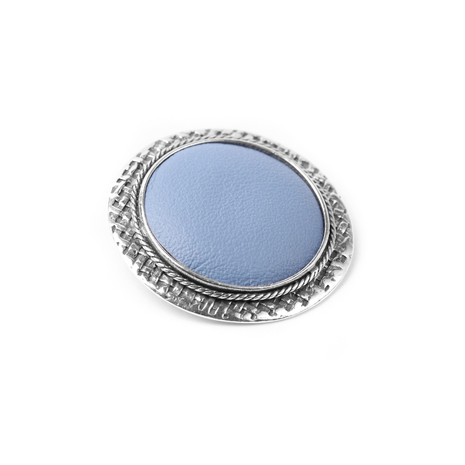 LEATHER broche bleu ciel