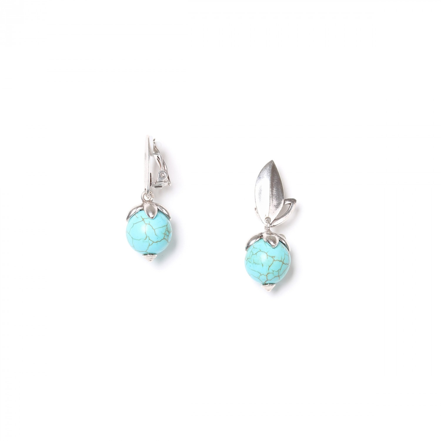 LES FRUITS clips howlite turquoise