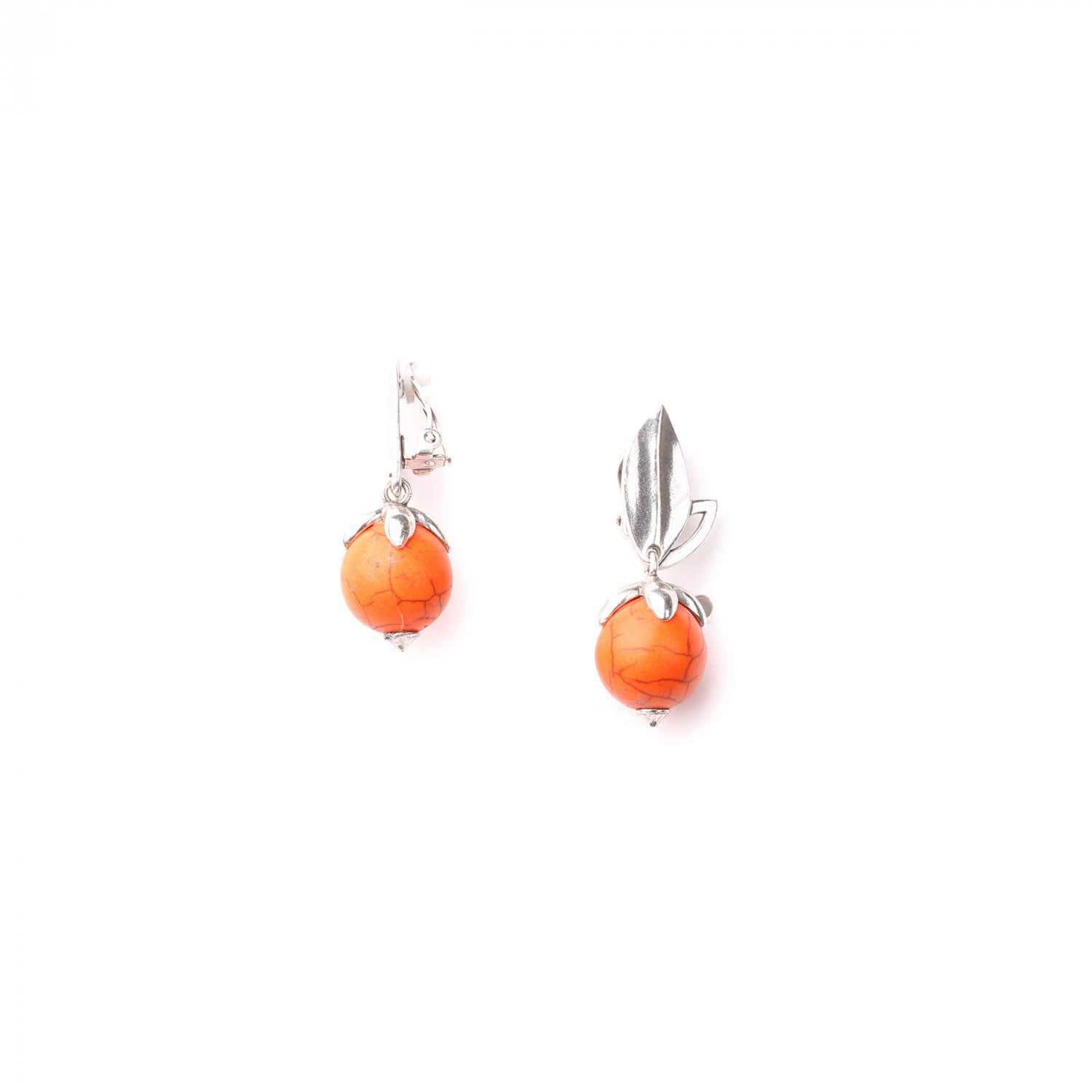 LES FRUITS orange howlite clips