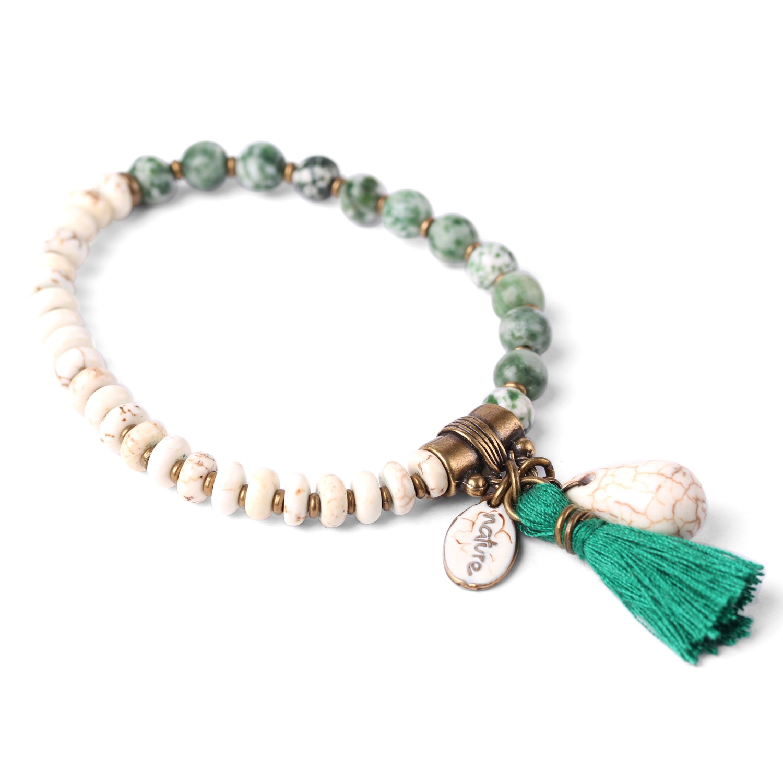 LES DUOS bracelet howlite / jaspe vert