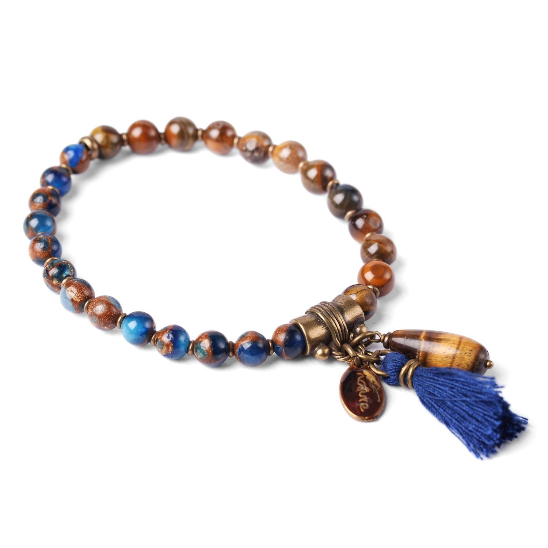 LES DUOS bracelet oeil de tigre/ pierre concassé