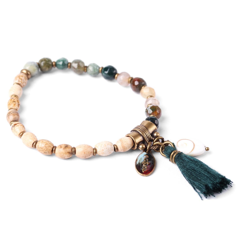 LES DUOS bracelet jaspe paysagé /jaspe vert