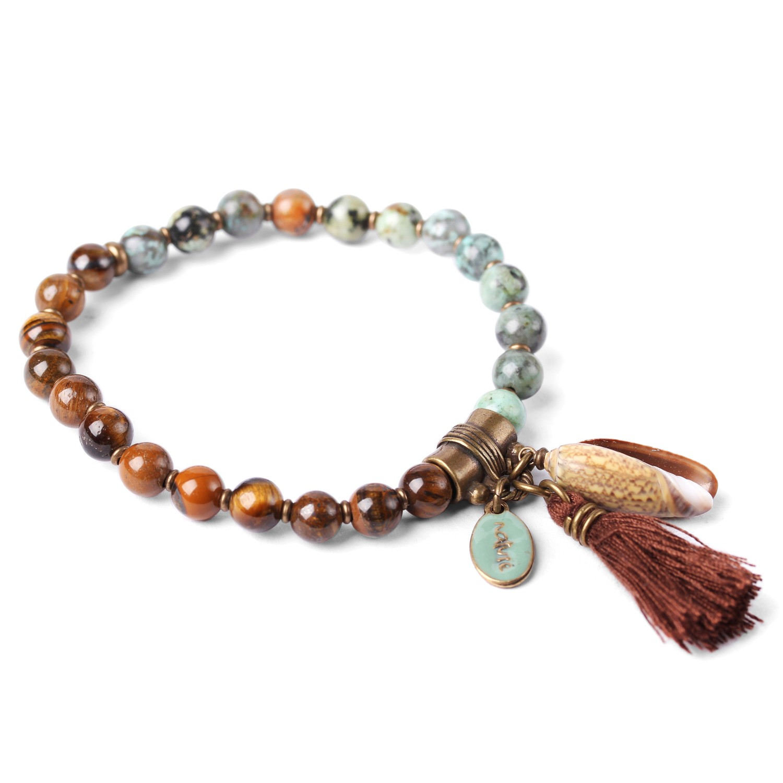 LES DUOS bracelet turquoise & oeil de tigre