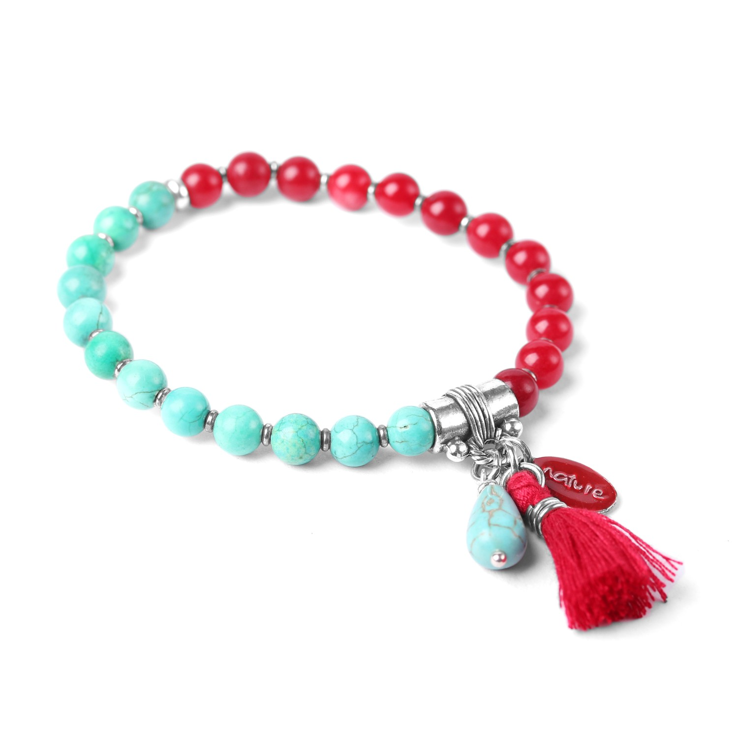 LES DUOS turquoise howlite & dyed jade bracelet