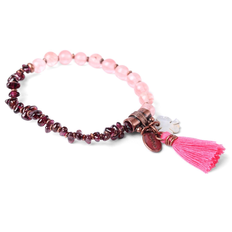 LES DUOS bracelet  garnet/ quartz