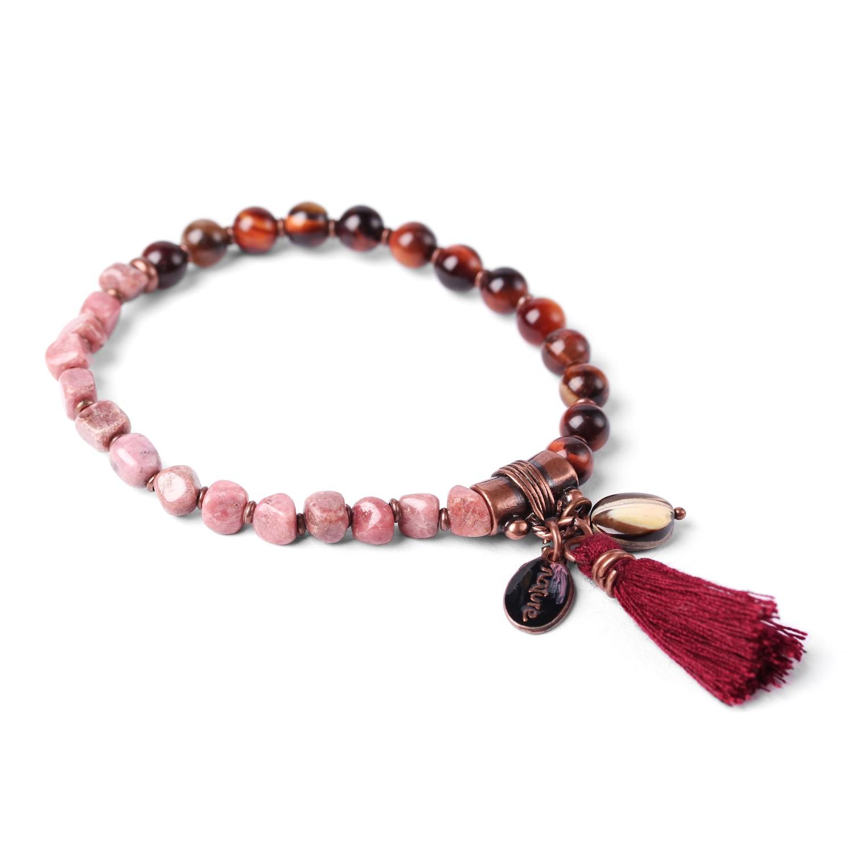 LES DUOS bull eye & rhodonite bracelet