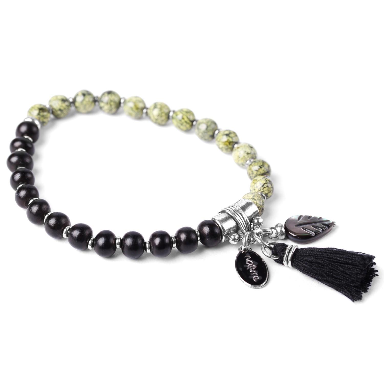 LES DUOS black horn & green jasper bracelet