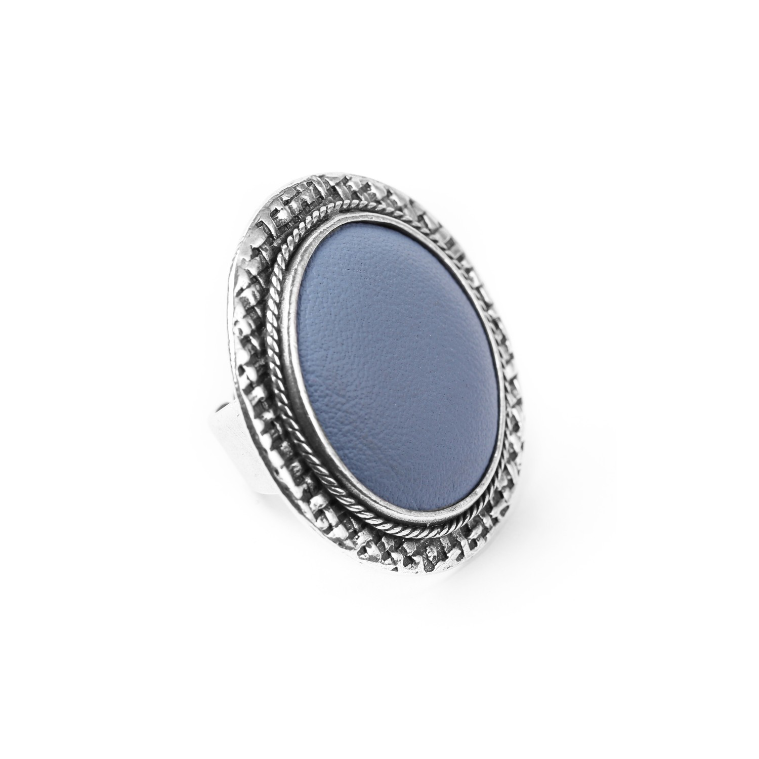 LEATHER bague bleu ciel