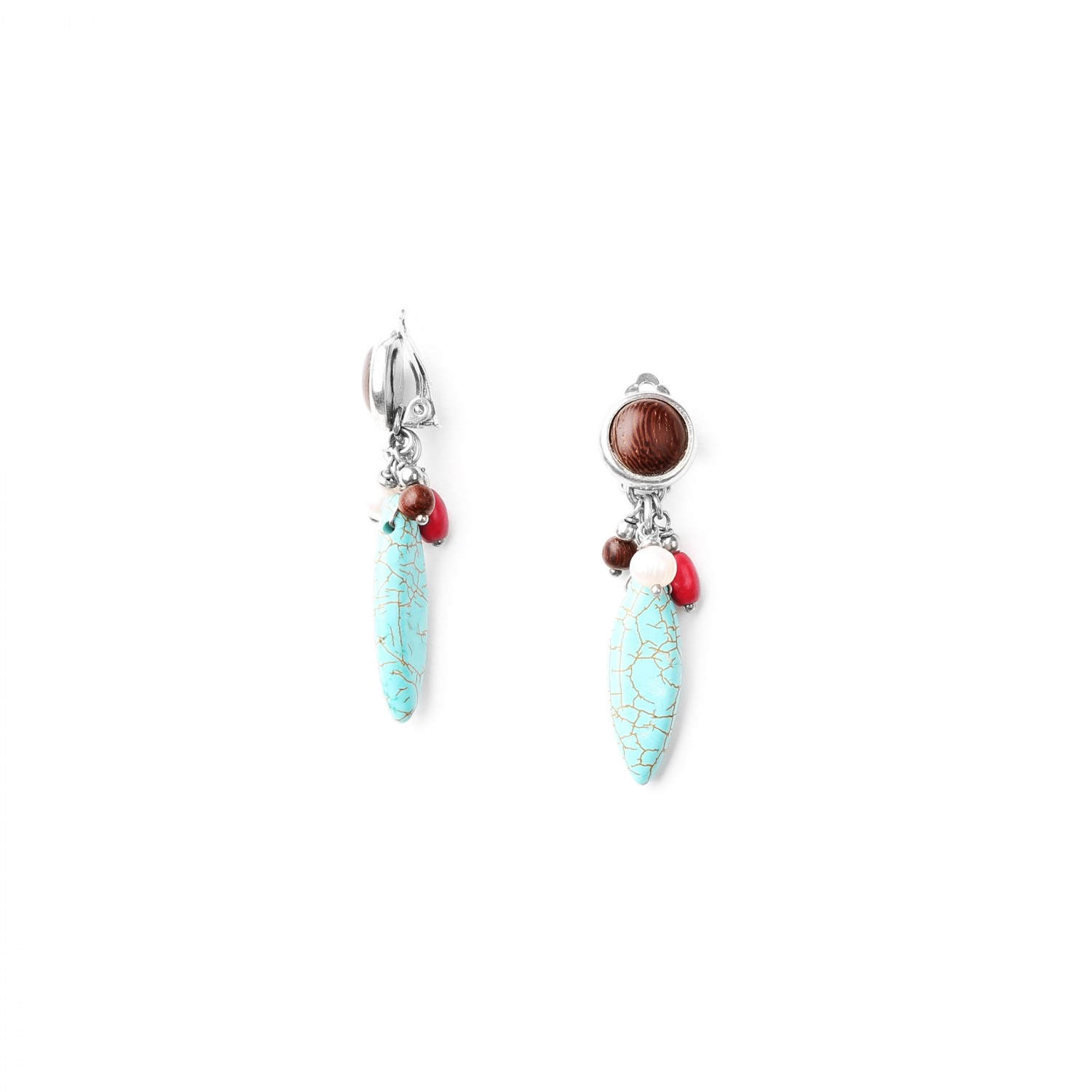 INDIANA  BO *clips howlite et turquoise