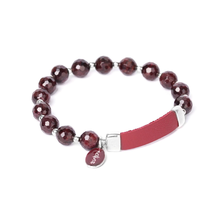 GRENAT bracelet extensible & cuir