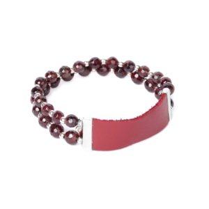 GRENAT bracelet extensible 2 rangs