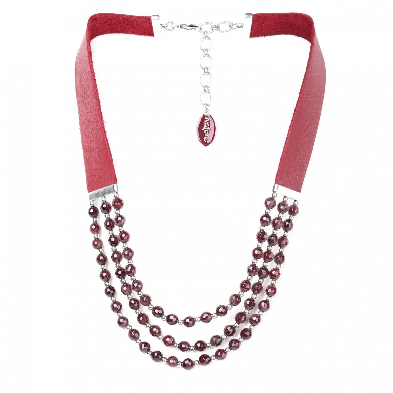 GRENAT 3 row necklace