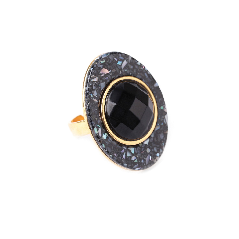 BLACK LIGHT bague ovale/ onyx