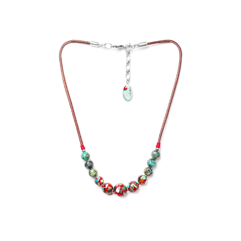 KATMANDOU collier 5 perles rouges