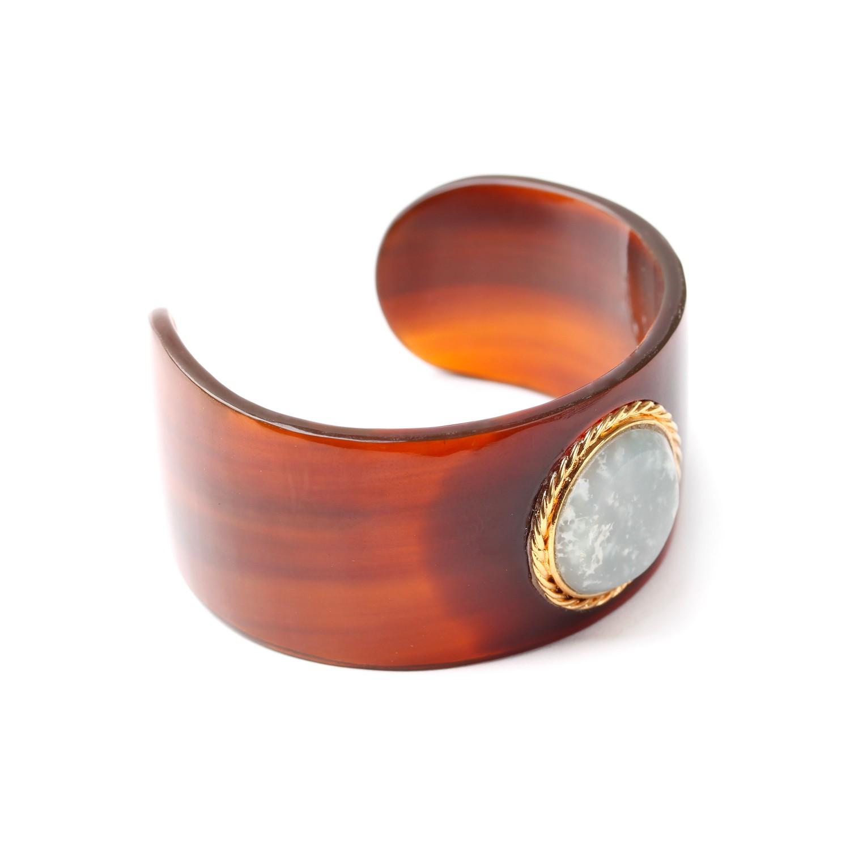 LA SCALA bracelet rigide corne dorée