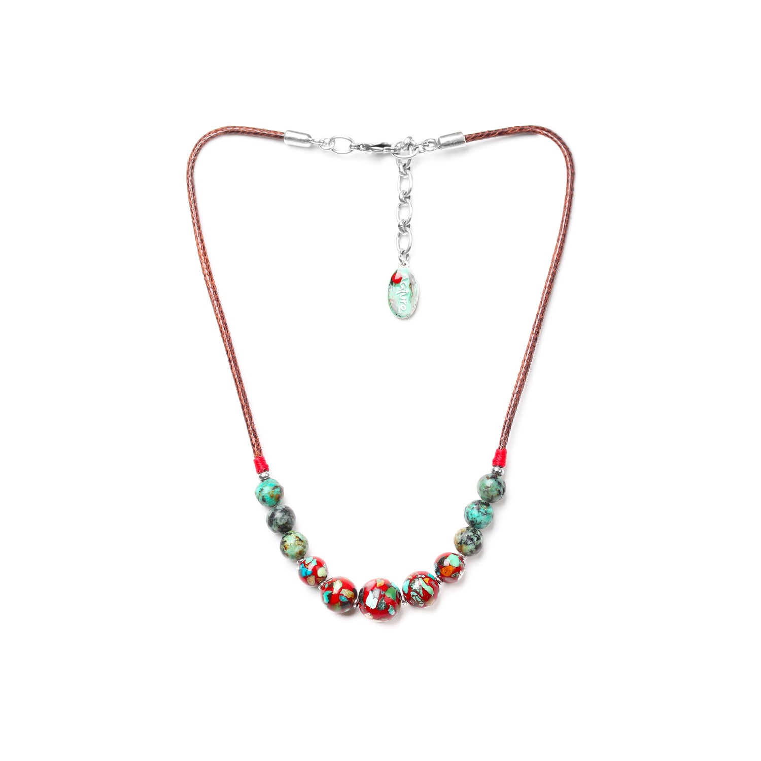 KATMANDOU collier 5 perles rouges
