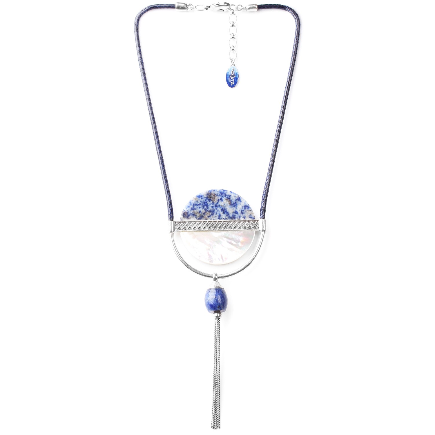 CYCLADES collier disque & pompon