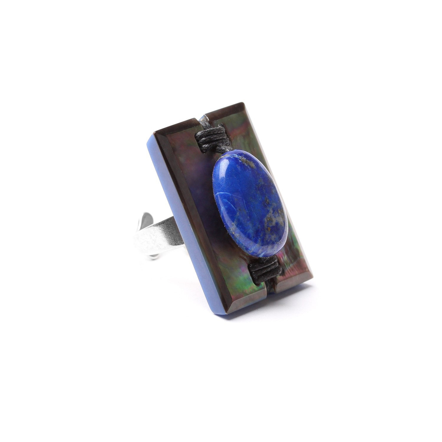 DEEP BLUE bague rectangulaire