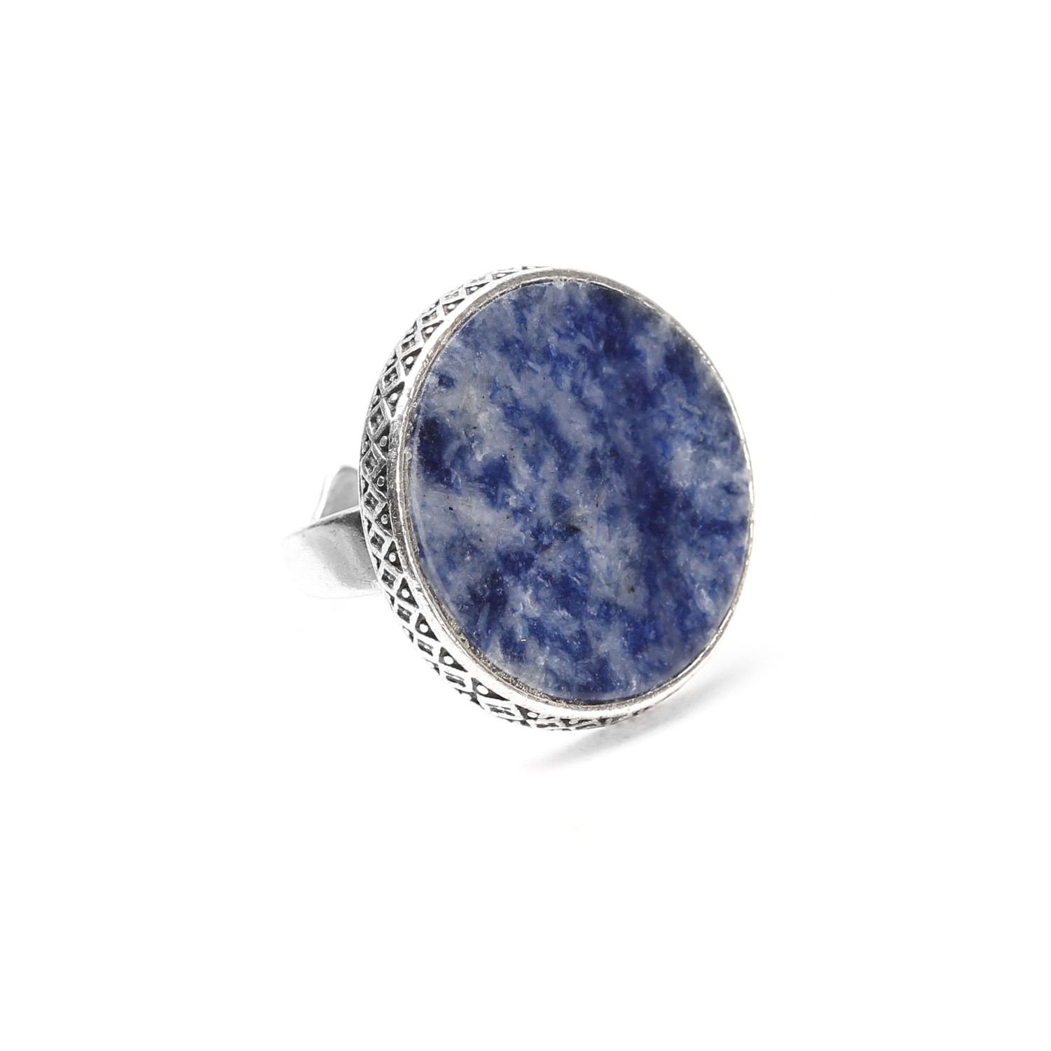 CYCLADES bague ronde sodalite