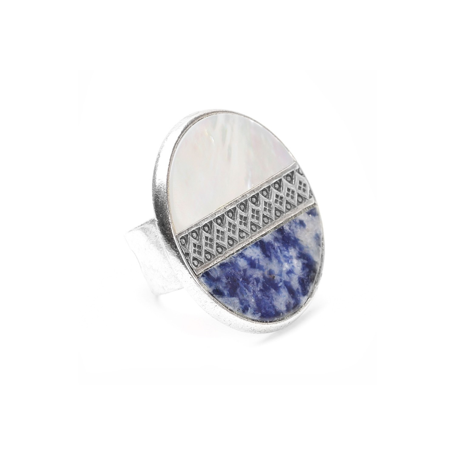 CYCLADES blue & white round ring