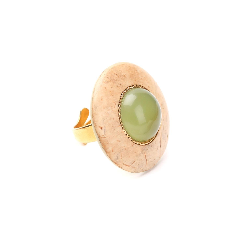 DANUBE coco ring w/jade cabochon