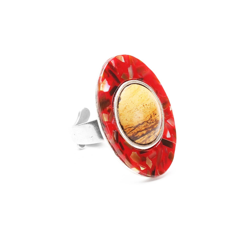 CHEYENNE oval ring w/jasper cab