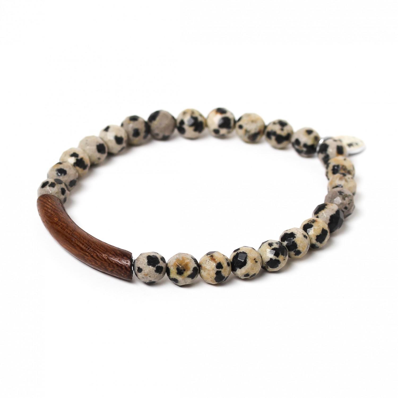 TUBE bracelet extensible jaspe dalmatien