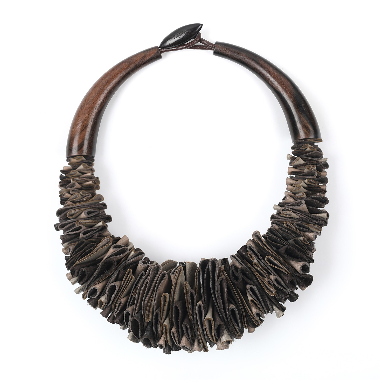 Necklace limited edition brown leather