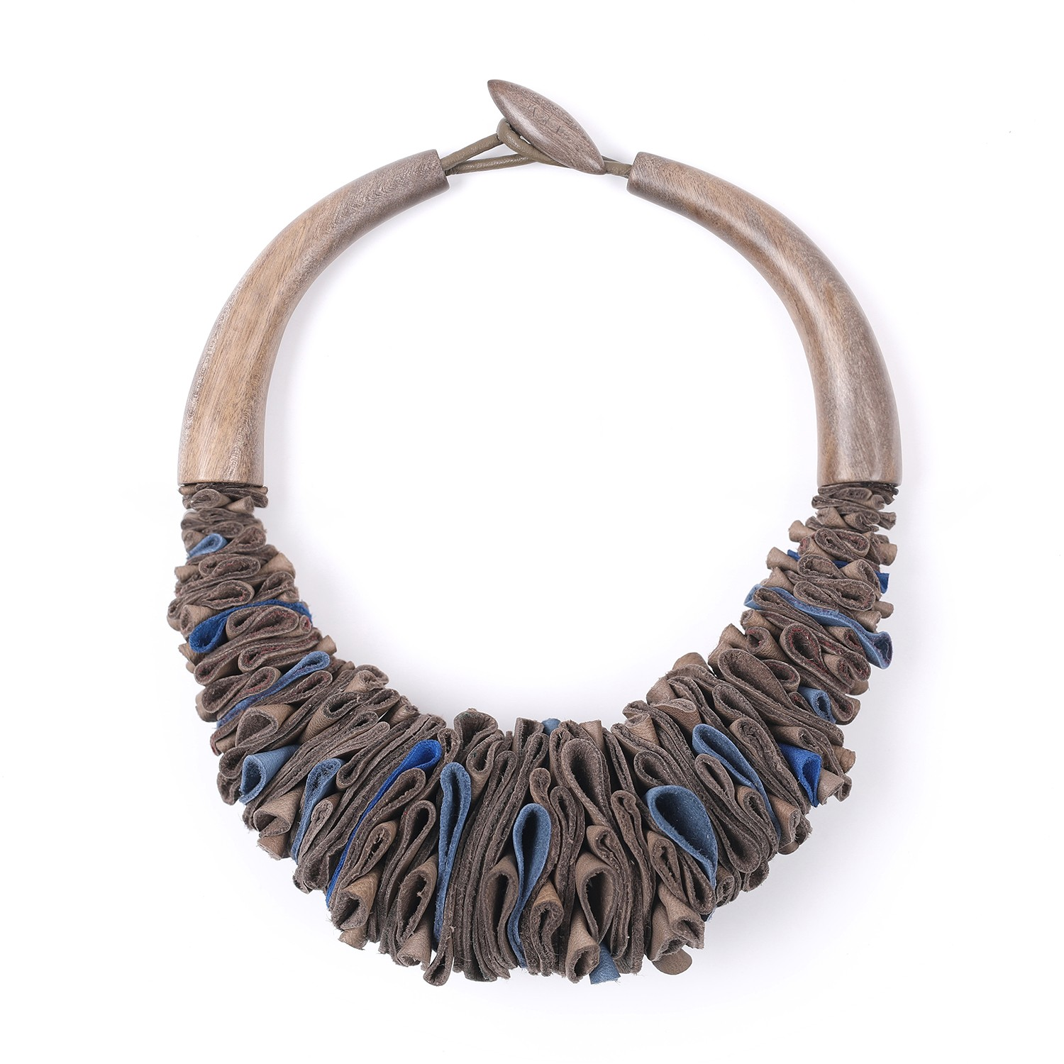 Necklace limited edition bleu grey leather