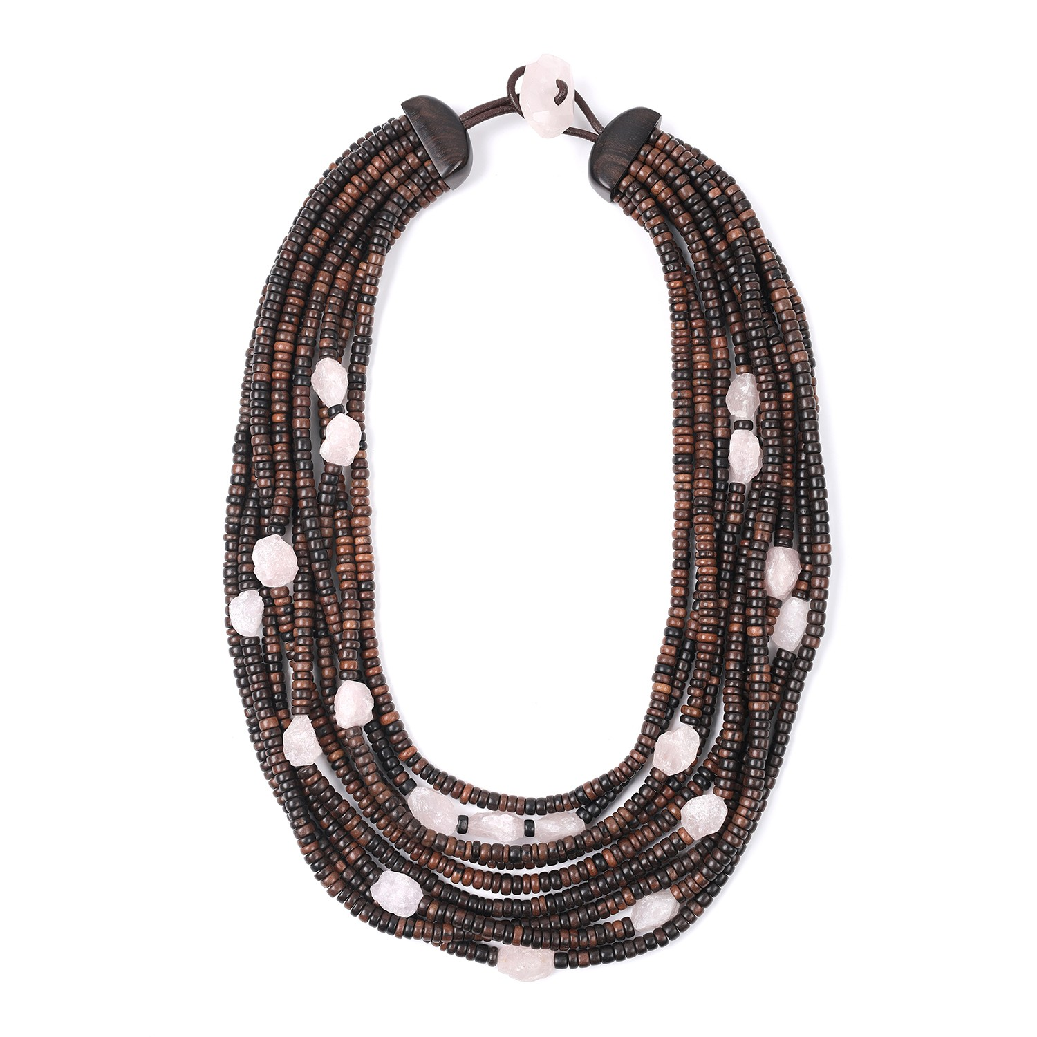 Necklace limited edition ebony & rose quartz