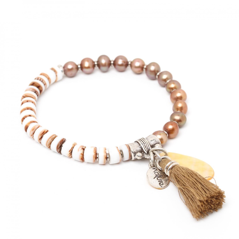 LES DUOS bracelet  perle de culture & heishi