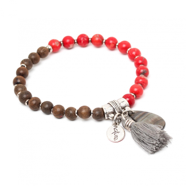 LES DUOS bracelet ébène gris & howlite