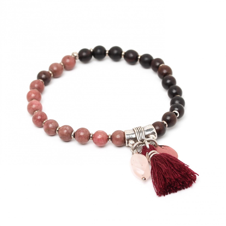 LES DUOS bracelet ébène & rhodonite