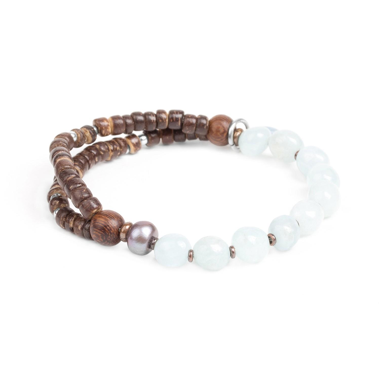 TAMAKO bracelet extensible aigue marine