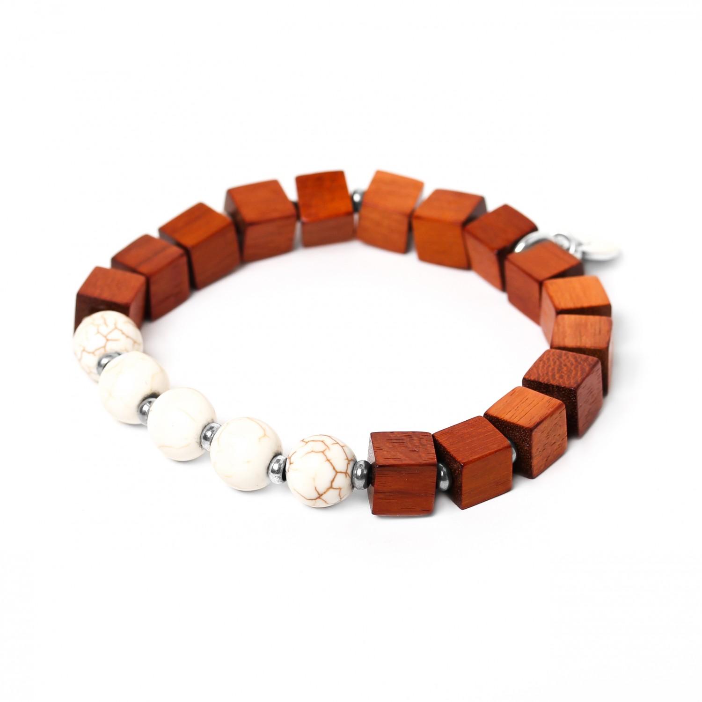 CUBES bracelet howlite blanche