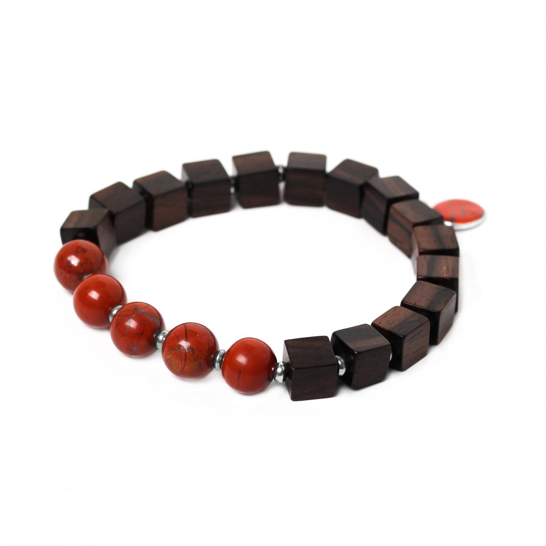 CUBES bracelet jaspe rouge