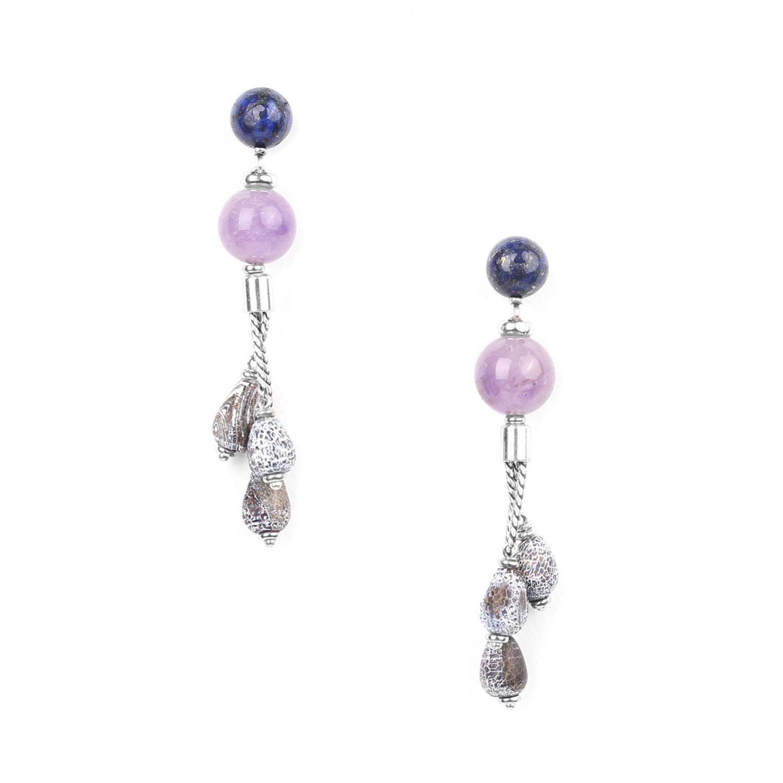 BAIKAL 3-lapis drop & amethyst bead ER