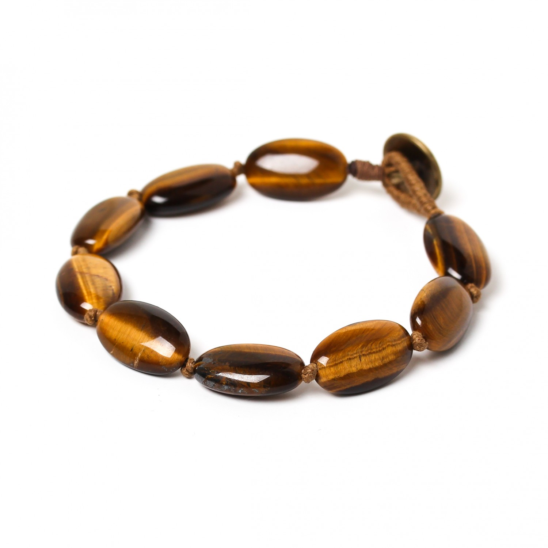 TIGER EYE bracelet grandes perles ovales