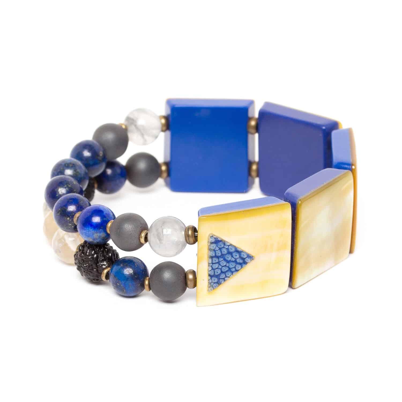BLUE TRIBE bracelet extensible 2 rangs