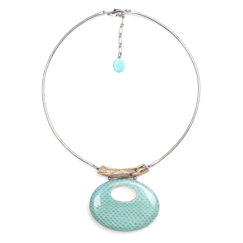 TAHOE necklace w/metal neckline