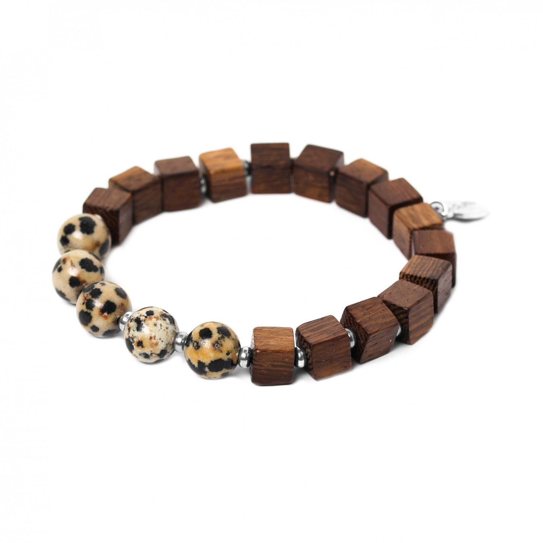 CUBES dalmatian jasper men bracelet