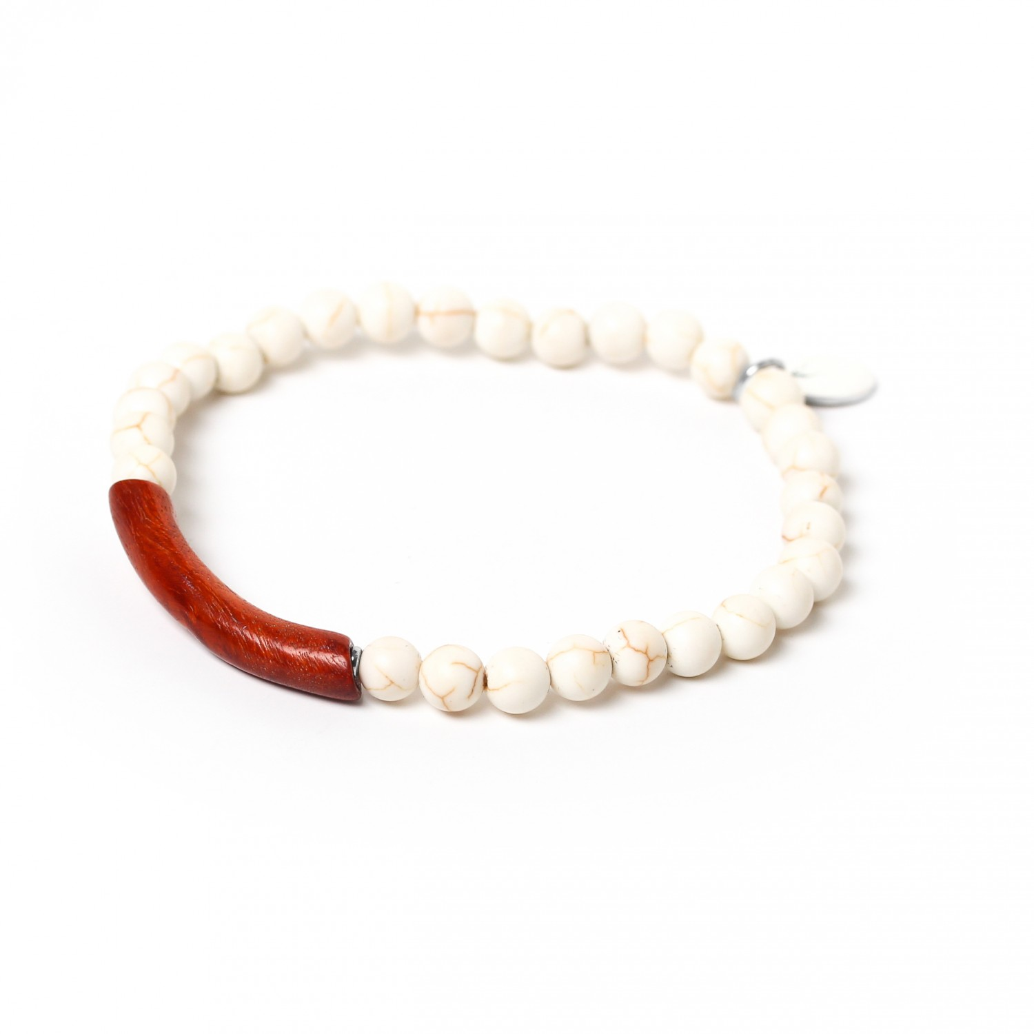TUBE white howlite stretch men bracelet