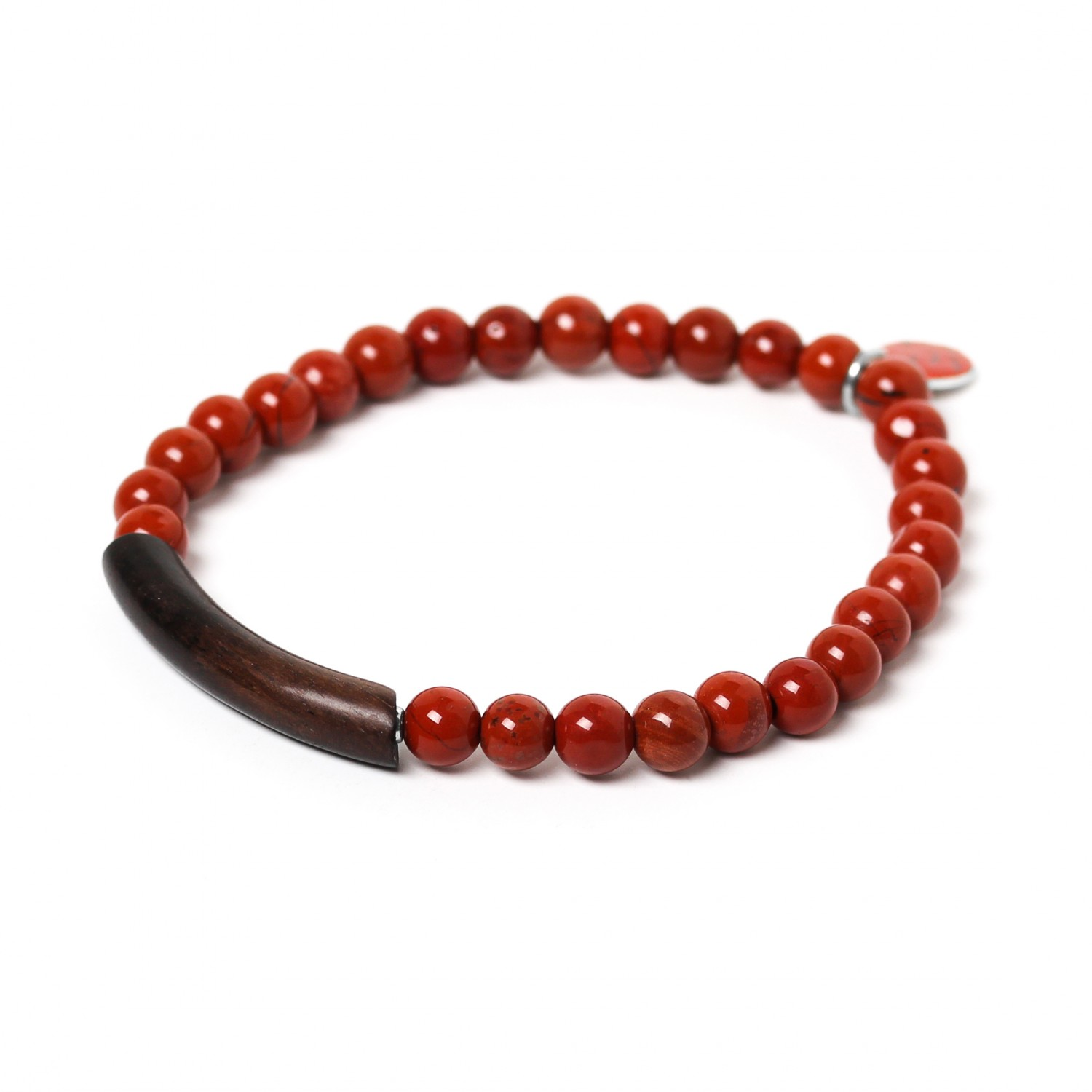 TUBE red jasper stretch men bracelet