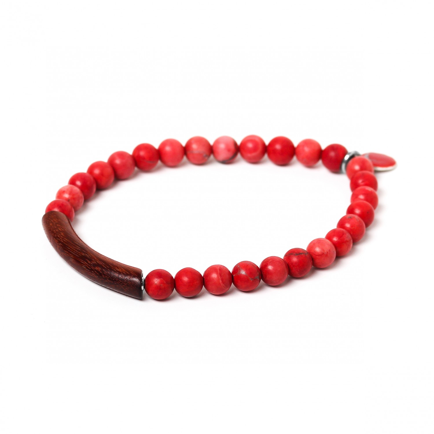 TUBE red howlite stretch men bracelet